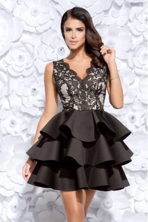Sukienka trzy falbany - czarna