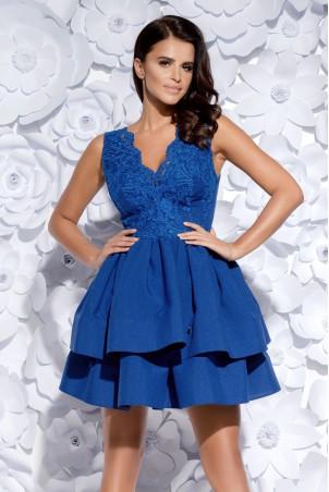Sukienka z koronkowym gorsetem - chabrowa
