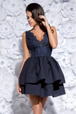 Sukienka z koronkowym gorsetem - granatowa