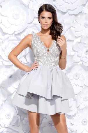 Sukienka z koronkowym gorsetem - szara