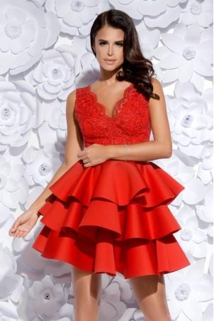 Sukienka trzy falbany - czerwona