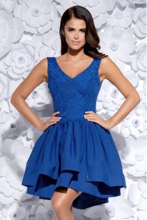 Sukienka z dekoltem w serek i wydłużonym tyłem - niebieska