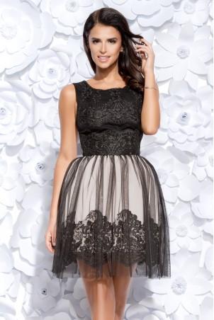 Sukienka koronkowa z tiulem - czarna