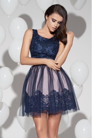 Sukienka koronkowa z tiulem - granatowa
