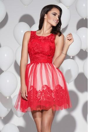 Sukienka koronkowa z tiulem - czerwona