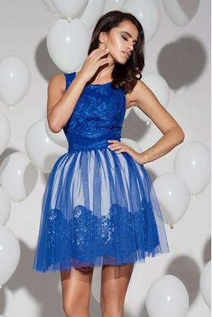 Sukienka koronkowa z tiulem - niebieska