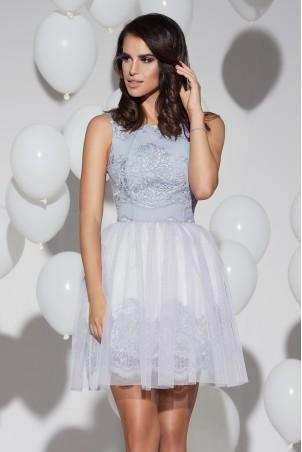 Sukienka koronkowa z tiulem - szara