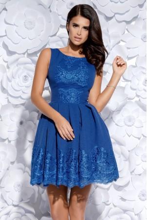 Sukienka plisowana z koronką - niebieska