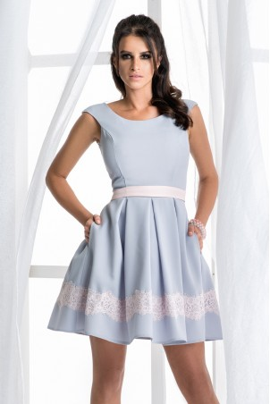 Sukienka balowa z kieszeniami - szara