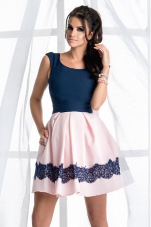 Dwukolorowa sukienka - jasny różowy