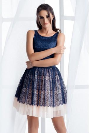 Sukienka z tiulową spódnicą - granatowa