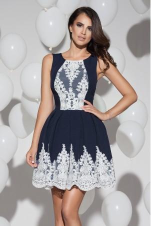 Sukienka plisowana z koronką - granatowa