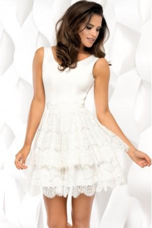 Sukienka piankowa z koronką - ecru