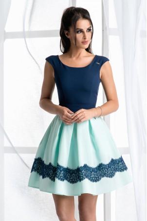 Dwukolorowa sukienka - miętowa