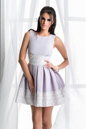 Rozkloszowana sukienka z koronką - szara