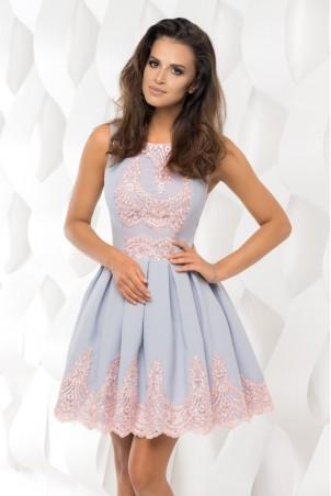 Sukienka plisowana z koronką - szara