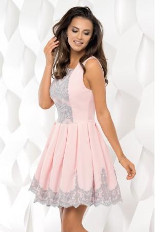 Sukienka plisowana z koronką - pudrowy róż