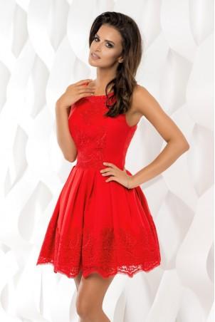 Sukienka plisowana z koronką - czerwona