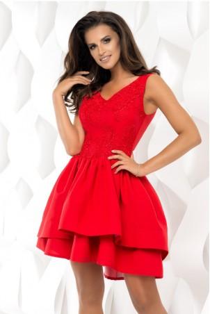 Sukienka z dekoltem w serek i wydłużonym tyłem - czerwona