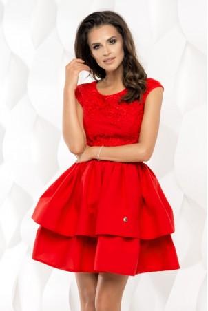 Sukienka rozkloszowana z falbanami - czerwona
