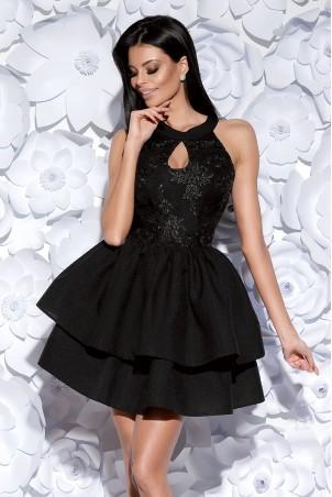 Sukienka z łezką i ozdobną gipiurą - czarna