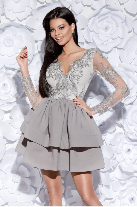 Sukienka z koronkowym gorsetem długi rękaw - szara