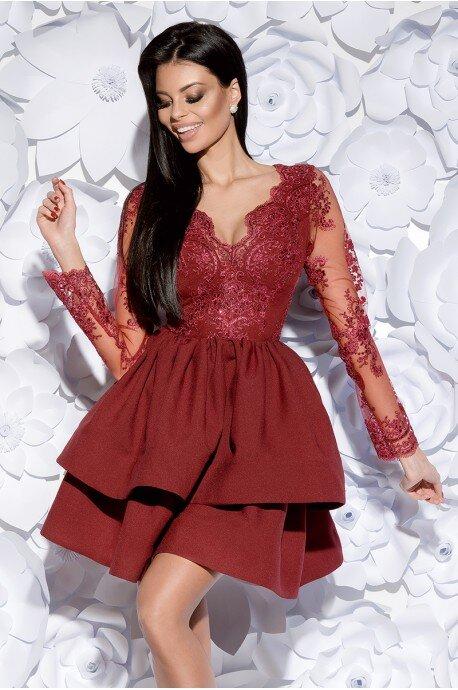 Sukienka z koronkowym gorsetem długi rękaw - bordowa