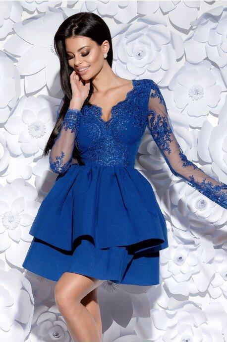 Sukienka z koronkowym gorsetem długi rękaw - niebieska