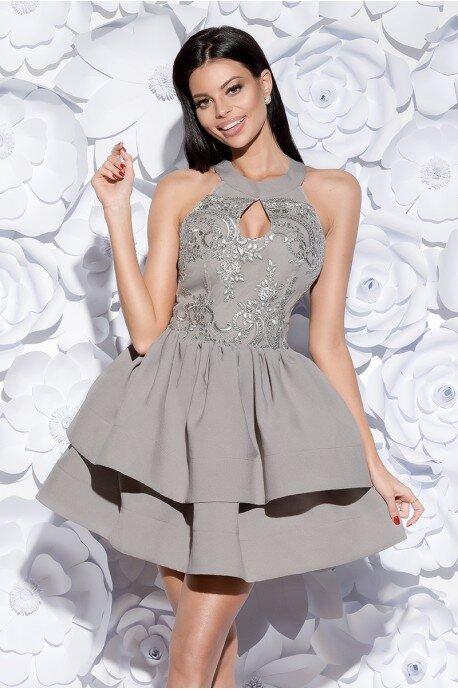 Sukienka z łezką i ozdobną gipiurą - szara