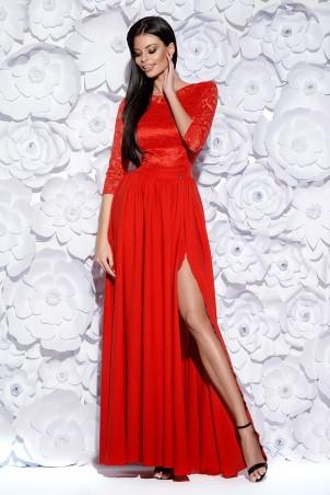 Sukienka długa z koronką - czerwona