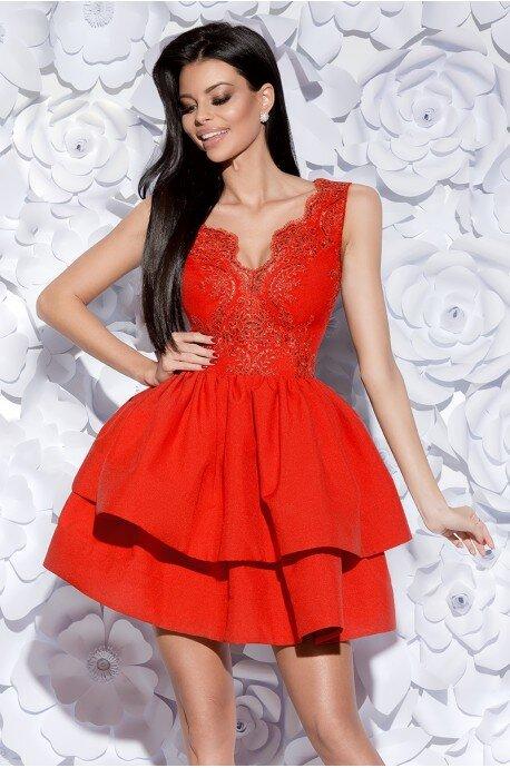 Sukienka z koronkowym gorsetem - czerwona
