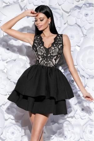 Sukienka z koronkowym gorsetem - czarna