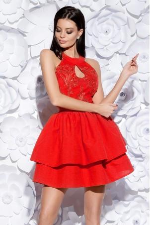 Sukienka z łezką i ozdobną gipiurą - czerwona