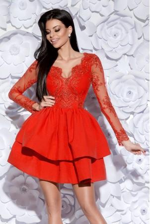 Sukienka z koronkowym gorsetem długi rękaw - czerwona