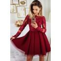 Sukienka Hiszpanka koronkowa - bordowa