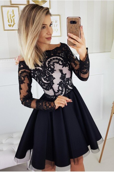 Sukienka Hiszpanka koronkowa - czarna
