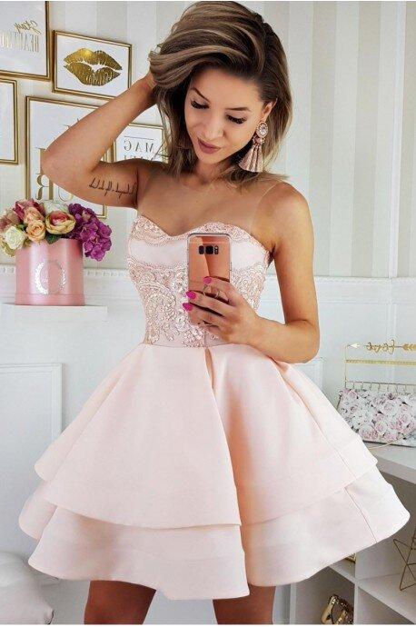 Piękna rozkloszowana sukienka gorsetowa 2138-10 - łososiowa