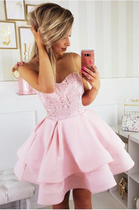 Piękna rozkloszowana sukienka gorsetowa 2138-12 - jasno różowa