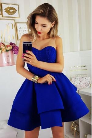 Piękna rozkloszowana sukienka gorsetowa 2138-05 - chabrowa