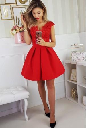 Sukienka balowa z motylkiem 2139-02 - czerwona