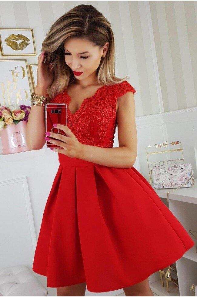 01c2825b00 Sukienka balowa z wiązaniem i koronką Paula - czerwona - Pretty ...