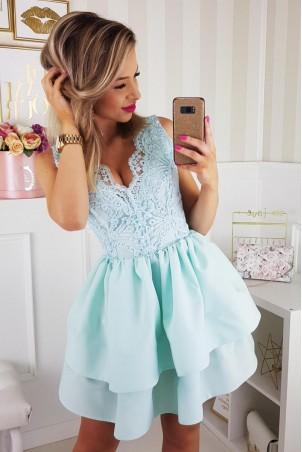 Sukienka z koronkowym gorsetem 2126-15 - miętowa