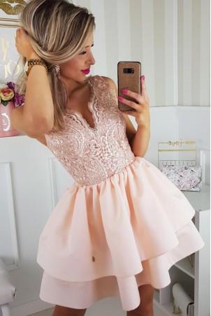 Sukienka z koronkowym gorsetem 2126-17 - łososiowa