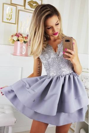 Sukienka z koronkowym gorsetem 2126-33 - szara