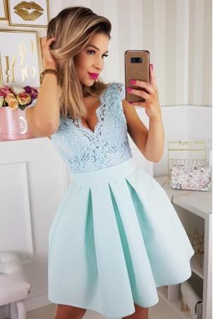 Sukienka balowa z motylkiem 2139-15 - miętowa