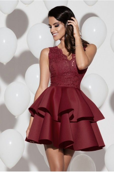 Sukienka na wesele dwie falbany 2122-10 - bordowa