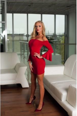 Mini sukienka z odkrytymi ramionami, rękaw z falbaną - czerwona