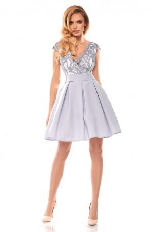 Sukienka balowa z motylkiem - szara z białym tyłem