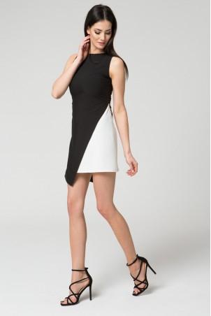 Asymetryczna wieczorowa sukienka czarno-biała