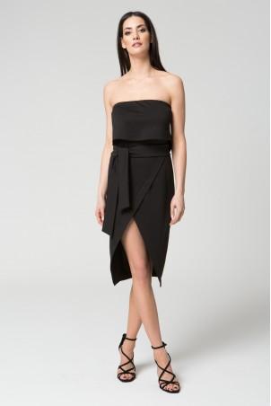 Wieczorowa sukienka bez ramiączek z paskiem midi czarna
